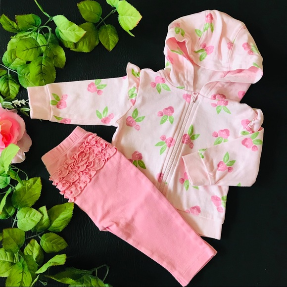 3-6 m Baby Girl Matching Outfit With Rose Prints